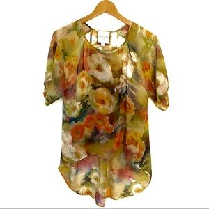 Yellow Watercolor Floral Top